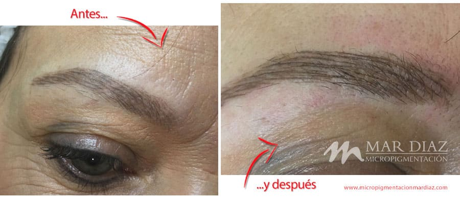 Antes y después de una segunda sesión de Microblading con Mar Díaz 1 mes y medio después